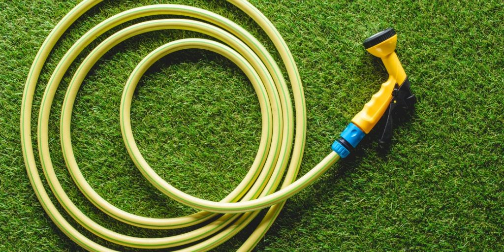 garden hose on the lawn