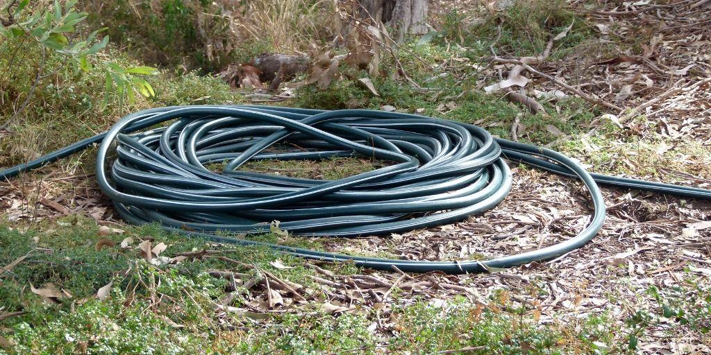 long garden hose coiled up