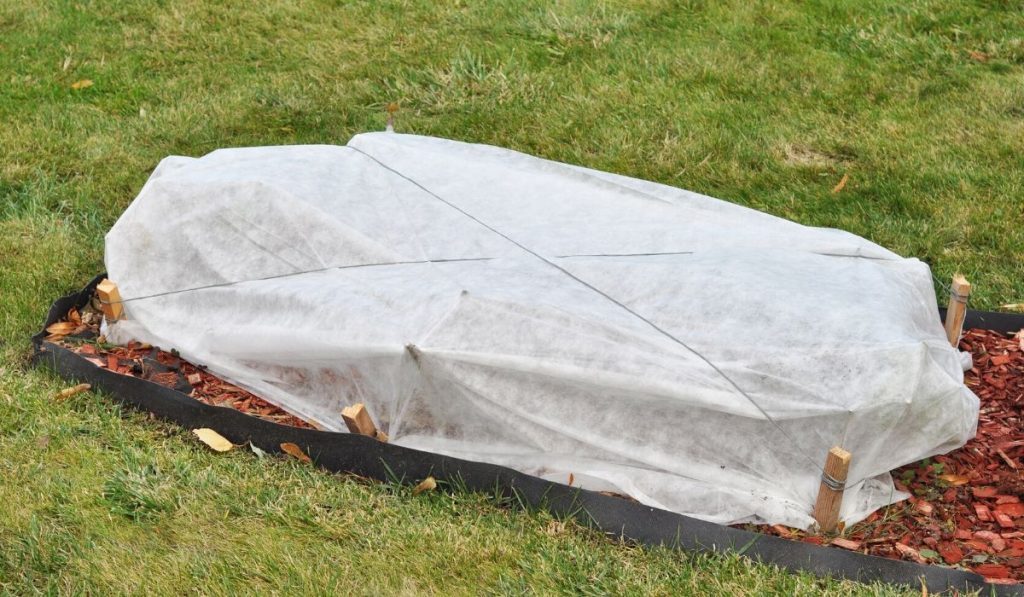 ground level flowerbed insulated and covered