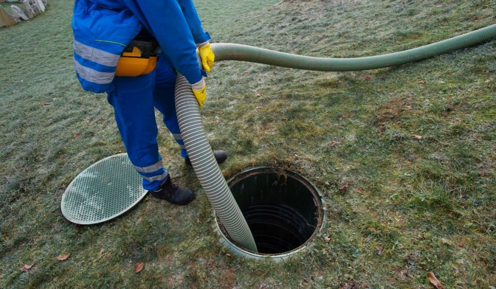 septic tank being pumped