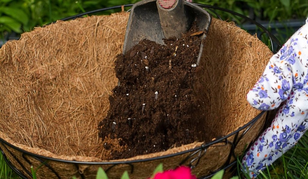 using potting mix in a hanging basket