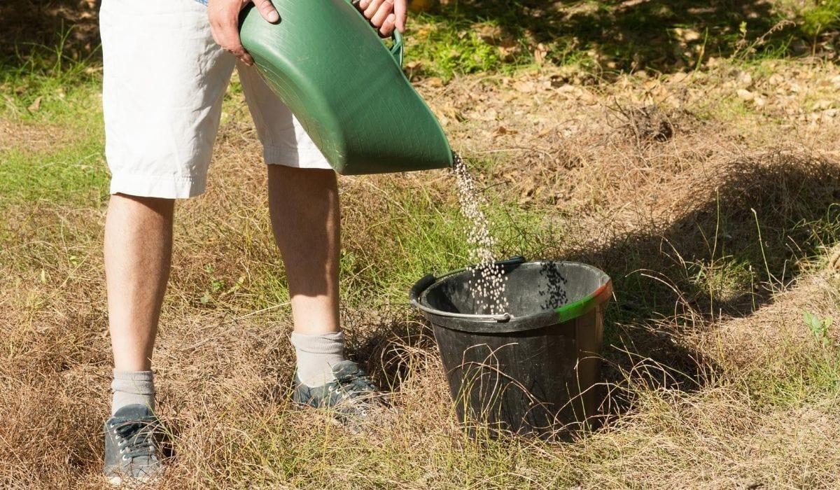 mixing granular fertilizer to water