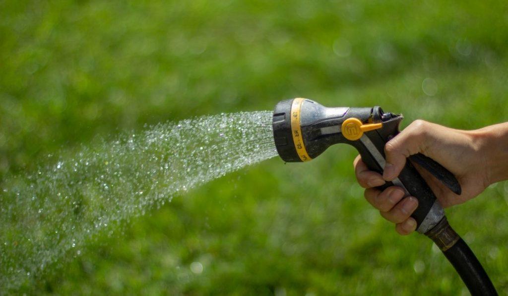 Watering garden using garden hose