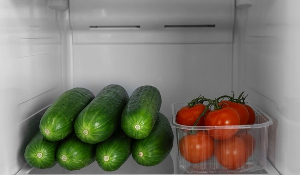 Tomato nand cucumber inside fridge