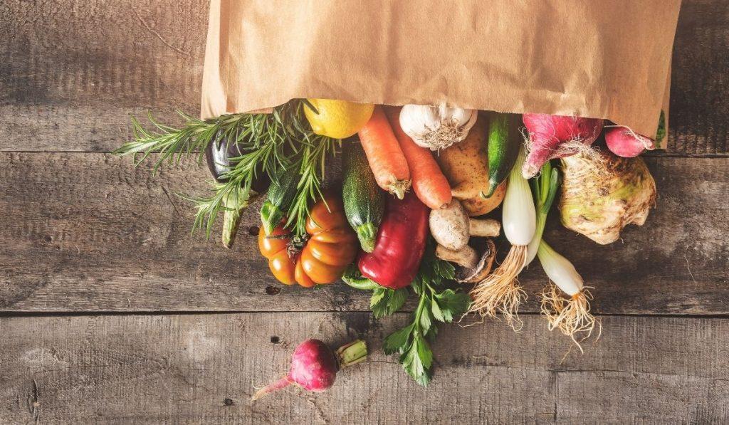 Vegetables in paper bag