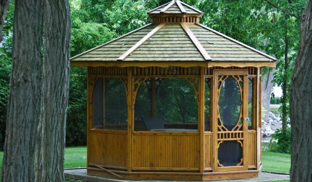 painted the gazebo with a tinted or clear waterproof sealant for waterproofing