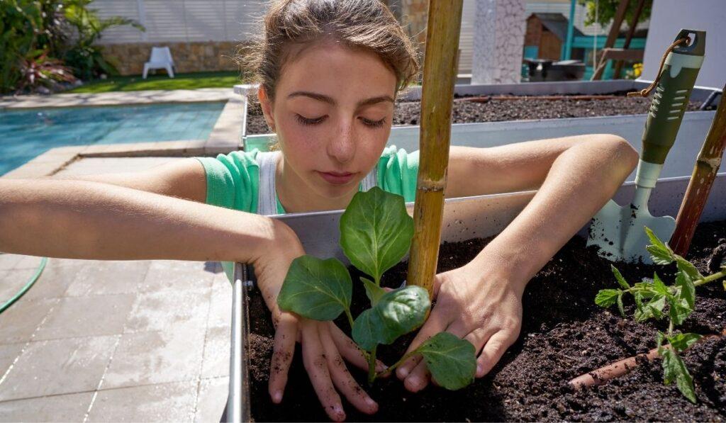 Girl Working on Raised Bed Garden