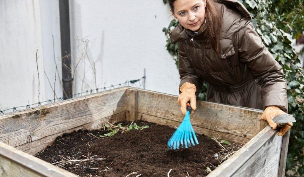 Woman Preparing Raised Bed Soil